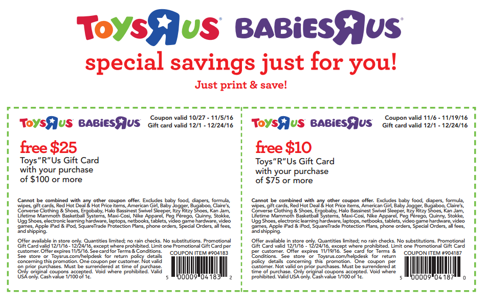 image about Printable Toysrus Coupon known as Toys R Us/Toddlers R Us Printable Coupon